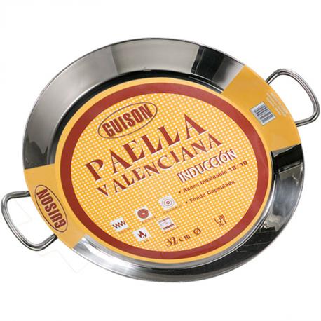 paella pfanne aus edelstahl mit sandwichboden f r induktion 40cm grill shop scheidegger. Black Bedroom Furniture Sets. Home Design Ideas